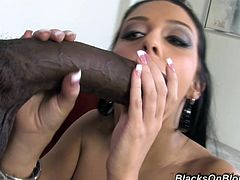 Charming brunette Stephanie Cane wearing sexy corset and thong is having fun with some black man. She drives him crazy with a blowjob and then gets her pussy pounded doggy style.