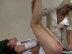 Wasteland brings you a hell of a free porn video where you can see how this nasty blonde nurse dildos her patient's hairy cunt while assuming very interesting poses.