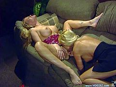 Have fun with this hot lesbian scene where these gorgeous blondes fuck one another with a strapon as their moans give you a serious boner.