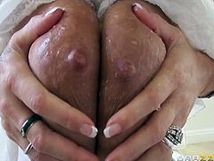 Horny MILF slut Holly Halston is ready to show you her amazing watermelons. She gets on her knees to give his cock some blowing and then rides it like a real pro.