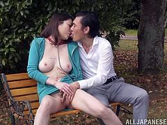 These Asians are real perverts and that's why we love to watch them! Check out this action, a man plays with his slut in a park, on a bench. He rubs her pussy and then, fucks her from behind. The slut wears a collar and a leash and enjoys her situation. In the meantime an innocent chick stalks them, will she join in?