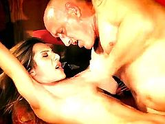 Naughty chick Alice Romain has bald step daddy who always seduces his young babe and licks her sweet pussy with his sloppy mouth. Then he fucks her in all positions