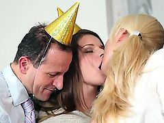Enjoy wild sex party with delightful whores Kristine Crystalis, Mona Lee and Victoria Puppy