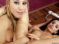 Blonde Nikky Thorne and Kerry loses control in wild lesbian action