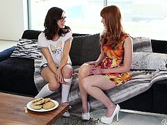 This pair of hot bitches are chatting on the couch, and you can sense the sexual tension between them. It isn't long before, Marie and Shyla are passionately kissing each other. Shyla is obsessed with the beautiful redhead's nipples
