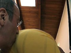 Crazy man in glasses making himself wild by tasting this beautiful ass in sexy yellow leggings
