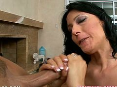 Long and black haired whorish sex pot with big sexy boobies kneeled down and provided her thirsting fellow with solid BJ. He will never forget that action!Look at this hot MILF in My XXX Pass sex clip!