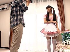 Get a hard dick watching this long haired Japanese babe in pigtails, with a nice ass wearing a maid uniform, while she sucks a big cock.