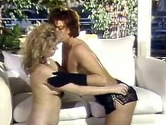 Kinky and slutty whores with nice asses and curly hair have fun. Sexy brunette with nice body lays with spreaded legs and gets her clit licked and then man joins them. Have a look in The Classic Porn xxx clip.