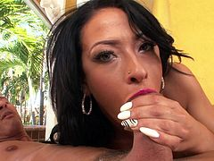 devilish brunette can't get enough cock