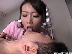 Take a look at this hot scene where the horny Asian nurse Hana Nonoka sucks and jerks a patient's hard cock until making him cum.