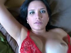 Cici Love is a sexy Latin babe with big and round titties. She teases her man slowly in red lingerie before he jams her pussy in a good, homemade, POV scene.