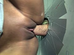 Vicki Chase gets naughty with a gloryhole schlong in a toilet