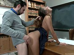 Alina is a cute schoolgirl but she's a bit naughty. Her teacher had enough with her and this time he is determined to make a good girl out of her. He starts by bending her over the desk and spanks her ass with his ruler. Then, he shoves his dick in her superb pussy and pounds her hard