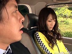 Hot Saki Kouzai lifts a skirt up to show her nice ass and pussy. Then this sexy Japanese babe gives a blowjob and gets fucked in the street.