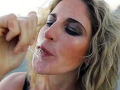 Hot slut named Kara Price spreads her legs and plays with her sweet pussy