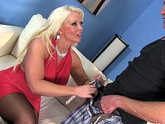 big breasted slut spits on his balls