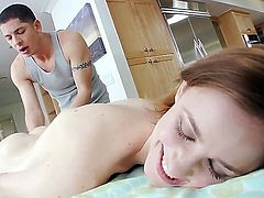 Beautiful pornstar Jay Taylor is becoming naked before fellow, lying on massage table and getting unforgettable intimate massage from him. Lucky pal is massaging her body well.