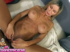 Perverted blond haired slut Morgan Ray gives her boyfriend nice blowjob and then passionately rides his big cock in cowgirl position.