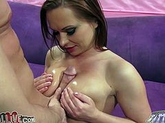 Bosomy lusty whore Katja Kassin gives her guy nice foot fuck