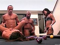 Take a look at this hardcore scene where these horny babes are fucked by two big black cocks that leave them out of breath after a foursome.