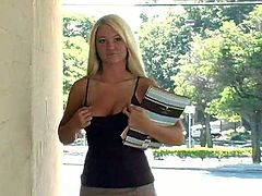 Kinky blonde Alison Angel wearing a miniskirt is having some good time in a park. She fingers her snatch on a bench and then goes away and shows her nice ass.