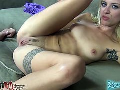 Raunchy porn actress Cameron Canada exposes her pussy for camera. She then rides a sybian and also performs stout blowjob. After, she gets her pussy licked by thirsty dude.