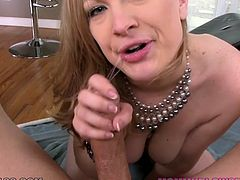 This rapacious light haired whore with awesome natural boobies stripped and set to please her thirsting fellow with nice deep throat. Enjoy this passionate MILF in My XXX Pass porn clip!