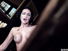 Johnny Sins buries his hard love torpedo in completely cute Amber Coxs mouth