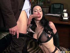 She's hot but that doesn't means her boss will tolerate her unprofessional attitude! Instead of answering phone calls and making appointments, Veronica masturbates at work. Her boss caught her this time and he's determined to give her a lesson! First, he gags & humiliates her and then feeds her with cock