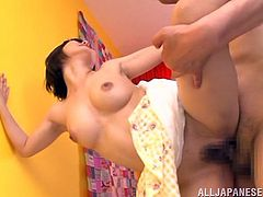Charming petite Japanese chick Minami Aida shows her nice natural tits to some guy and lets him kiss them. Then the stud favours the cutie with cunnilingus and fucks her in cowgirl and missionary positions.