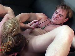 Aurora Snow gives rimjob and blowjob to horny dude Evan