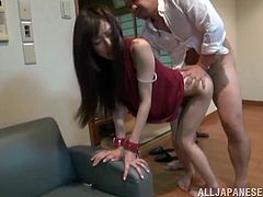Check this Asian brunette, with small boobs wearing white panties, while she gets blasted hard by a naughty guy until she reaches an orgasm.