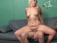 This sex-starved whore just loves to fuck. She rides her lover's dick in cowgirl poistion making her fat ass shake like jello. A few positions later he fucks her tight pussy in missionary position.