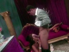Amazing busty brunette Tera Patrick makes out with her man and gives him a blowjob. Then they fuck in reverse cowgirl position and doggy style and enjoy it much.