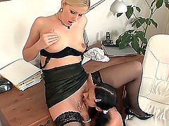 Sweet babes in sexy lingerie Angelica Kitten and Sandra de Marco rub their holes