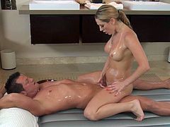 Insolent blonde in rough porn along hunk eager to splash her face