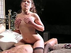 Horny amateur brunette in a schoolgirl outfit gets her wet swollen pussy fucked nice and hard by a horny stud who ends up coming on her face