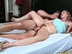 Kinky and sexy bitch with nice shape and light hair gets her clit banged hard on the bed and she sucks the dick. Have a look in steamy Reality Kings xxx clip.