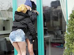 See the sparks of passion, when two hot lesbians meet in the street after a long separation. All in this video! These bitches are so horny, that they can't wait getting inside, to fuck. After kissing and caressing, they slowly get rid of their cloths and the atmosphere reaches high levels. Click to watch!