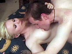 Charming blonde girl is having fun with her man indoors. They kiss and fondle each other and then they guy licks the hottie's vag and fucks it in cowgirl position.