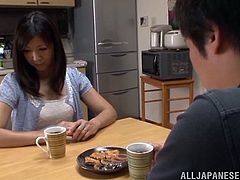A lustful Japanese MILF cooks a dinner for a guy. He decides to thank her properly. Miyuki gets her cunt licked and fingered. Of course then she gets fucked hard.