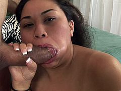 Tyung Lee is a horny BBW sucking on this old man's big cock before her fat pussy's drilled by him as you hear her moan.