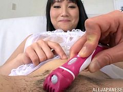 Check out this hot scene where this gorgeous Japanese is masturbated before this guy shaves her pussy and eats her out.