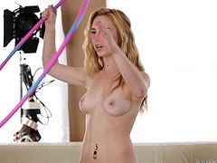 Taylor is our new wanna be porn actress! The blonde has some talent & her gf Holly wants to help her, by filming Taylor in a lot of naughty situations. Check it out, how Taylor taunts us with her delicious ass by playing with her panties and then, how she spreads her legs. Even Holly can't help herself, not to have a lick!