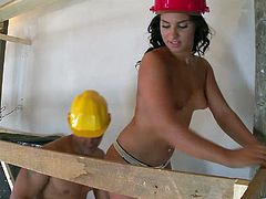 Get a load of this hardcore scene where the sexy Bettina Dicapri sucks on this constructor's big cock before getting fucked in the ass.
