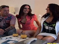 Two stunning babes have a wild threesome in Money Talk show