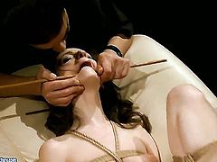 Brunette Ann Marie La Sante drops on her knees to gives suck job to handsome guy