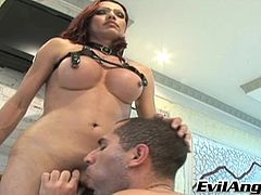 She's hot and she's ready to fuck! Redhead tranny Sachenka Levschenko gets her big boobs licked and then bends over, offering her guy that delicious ass. He eats her tight anus and then kneels like a good boy to feast on her cock. Damn, this situation gets heavier so don't miss the action!
