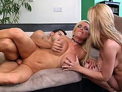 Make sure you get a load of this hot scene where the gorgeous blonde Lexi Lamour and Gina Lynn share this guy's big cock in an amazing threesome.